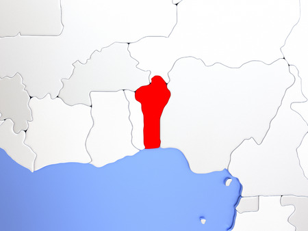 Map of Benin highlighted in red on simple shiny metallic map with clear country borders. 3D illustration