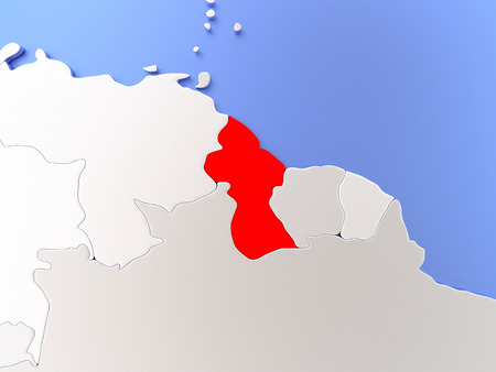 guyanese: Map of Guyana highlighted in red on simple shiny metallic map with clear country borders. 3D illustration
