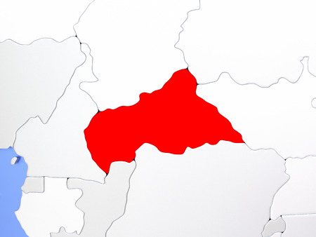 Map of Central Africa highlighted in red on simple shiny metallic map with clear country borders. 3D illustration