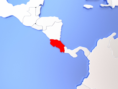 Map of Costa Rica highlighted in red on simple shiny metallic map with clear country borders. 3D illustration