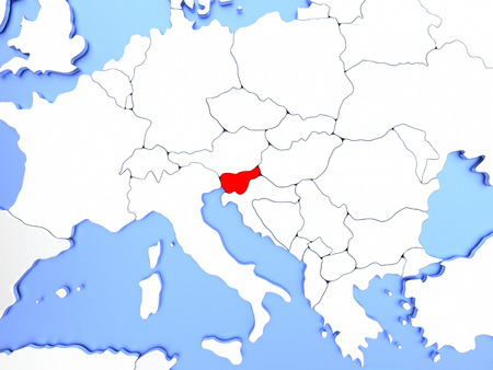 Map of Slovenia highlighted in red on simple shiny metallic map with clear country borders. 3D illustration