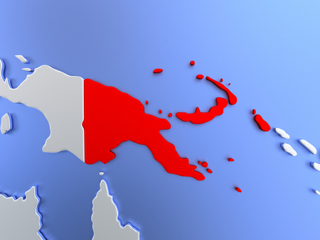 Map of Papua New Guinea highlighted in red on simple shiny metallic map with clear country borders. 3D illustration