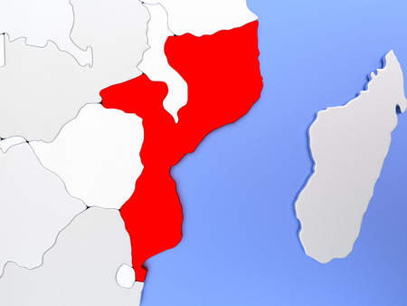 Map of Mozambique highlighted in red on simple shiny metallic map with clear country borders. 3D illustration