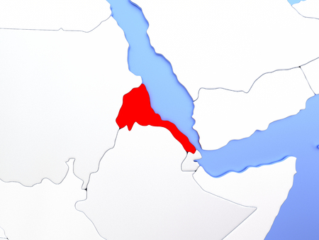 Map of Eritrea highlighted in red on simple shiny metallic map with clear country borders. 3D illustration