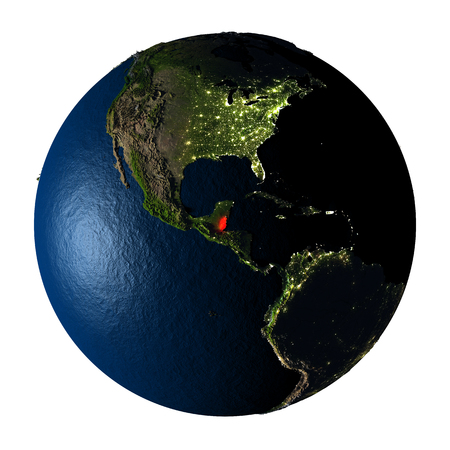 ranges: Belize highlighted red on highly detailed model of planet Earth with visible city lights, plastic oceans and mountain ranges. 3D illustration isolated on white background.