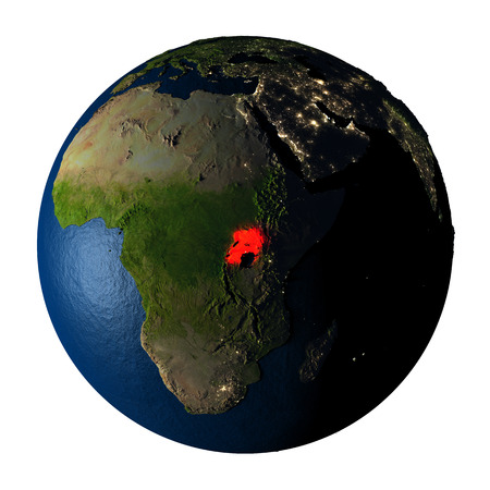 ranges: Uganda highlighted red on highly detailed model of planet Earth with visible city lights, plastic oceans and mountain ranges. 3D illustration isolated on white background.