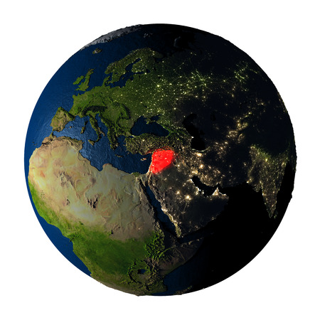 visible: Syria highlighted red on highly detailed model of planet Earth with visible city lights, plastic oceans and mountain ranges. 3D illustration isolated on white background. Stock Photo