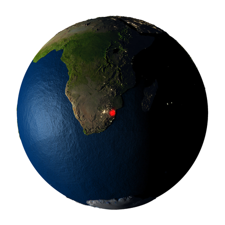 ranges: Swaziland highlighted red on highly detailed model of planet Earth with visible city lights, plastic oceans and mountain ranges. 3D illustration isolated on white background.