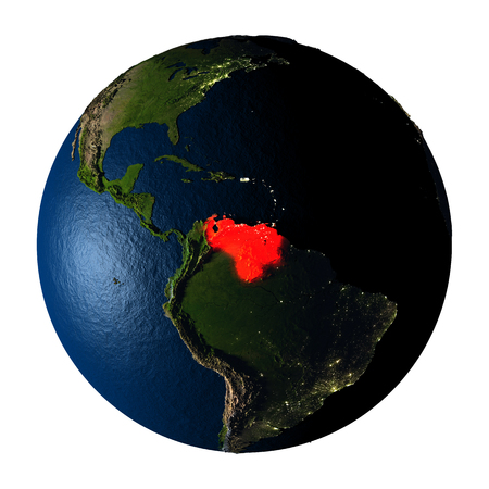 ranges: Venezuela highlighted red on highly detailed model of planet Earth with visible city lights, plastic oceans and mountain ranges. 3D illustration isolated on white background.