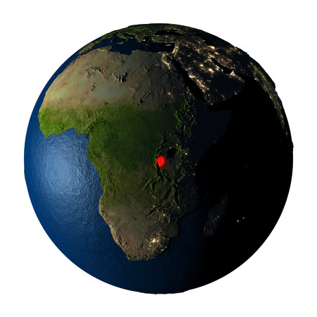 ranges: Burundi highlighted red on highly detailed model of planet Earth with visible city lights, plastic oceans and mountain ranges. 3D illustration isolated on white background.