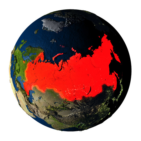 visible: Russia highlighted red on highly detailed model of planet Earth with visible city lights, plastic oceans and mountain ranges. 3D illustration isolated on white background. Stock Photo