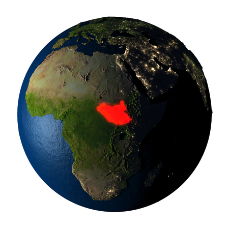 ranges: South Sudan highlighted red on highly detailed model of planet Earth with visible city lights, plastic oceans and mountain ranges. 3D illustration isolated on white background.
