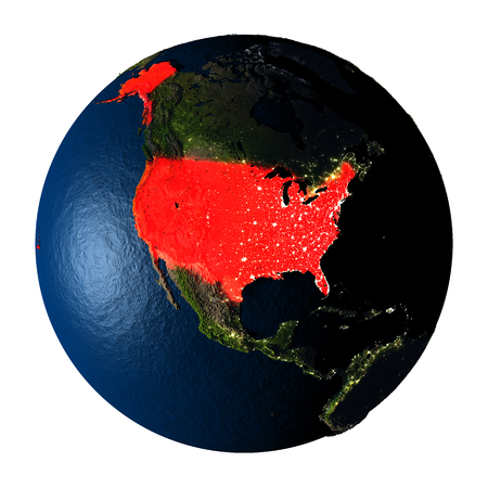 ranges: USA highlighted red on highly detailed model of planet Earth with visible city lights, plastic oceans and mountain ranges. 3D illustration isolated on white background.