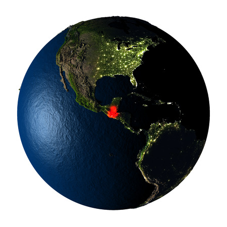 ranges: Guatemala highlighted red on highly detailed model of planet Earth with visible city lights, plastic oceans and mountain ranges. 3D illustration isolated on white background.