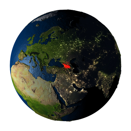 georgia: Georgia highlighted red on highly detailed model of planet Earth with visible city lights, plastic oceans and mountain ranges. 3D illustration isolated on white background.