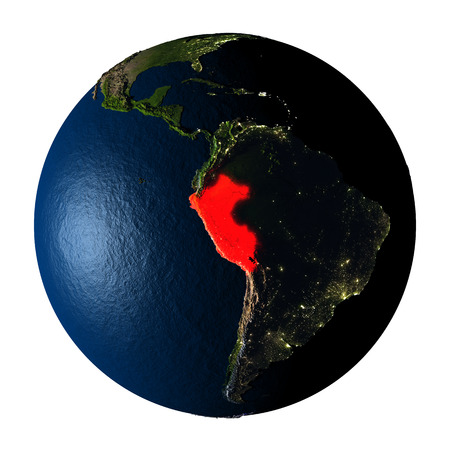 Peru highlighted red on highly detailed model of planet Earth with visible city lights, plastic oceans and mountain ranges. 3D illustration isolated on white background.