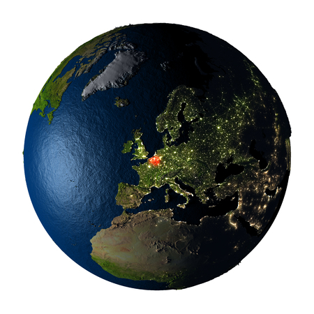 ranges: Belgium highlighted red on highly detailed model of planet Earth with visible city lights, plastic oceans and mountain ranges. 3D illustration isolated on white background. Stock Photo