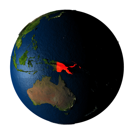 ranges: Papua New Guinea highlighted red on highly detailed model of planet Earth with visible city lights, plastic oceans and mountain ranges. 3D illustration isolated on white background. Stock Photo