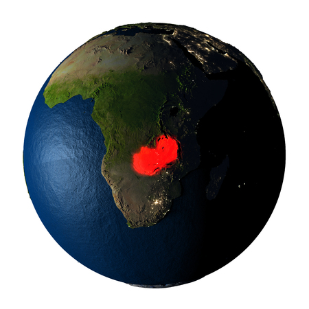 ranges: Zambia highlighted red on highly detailed model of planet Earth with visible city lights, plastic oceans and mountain ranges. 3D illustration isolated on white background.