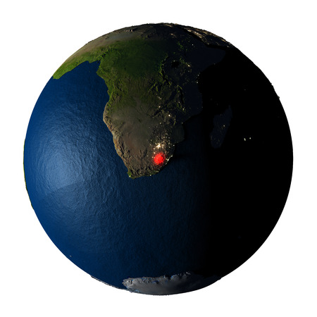 Lesotho highlighted red on highly detailed model of planet Earth with visible city lights, plastic oceans and mountain ranges. 3D illustration isolated on white background. Stock Photo