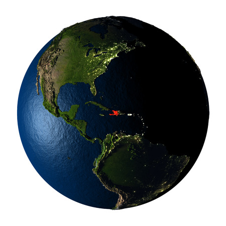 ranges: Haiti highlighted red on highly detailed model of planet Earth with visible city lights, plastic oceans and mountain ranges. 3D illustration isolated on white background. Stock Photo