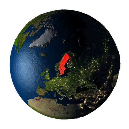 ranges: Sweden highlighted red on highly detailed model of planet Earth with visible city lights, plastic oceans and mountain ranges. 3D illustration isolated on white background.