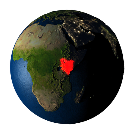ranges: Kenya highlighted red on highly detailed model of planet Earth with visible city lights, plastic oceans and mountain ranges. 3D illustration isolated on white background. Stock Photo