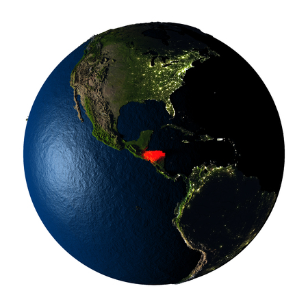 ranges: Honduras highlighted red on highly detailed model of planet Earth with visible city lights, plastic oceans and mountain ranges. 3D illustration isolated on white background.