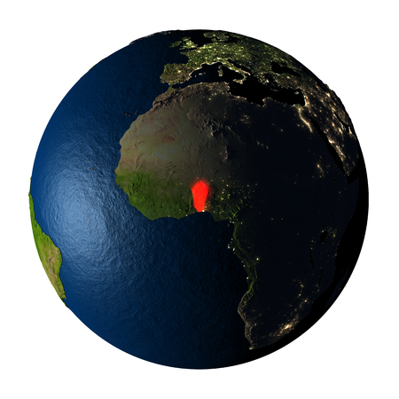 Benin highlighted red on highly detailed model of planet Earth with visible city lights, plastic oceans and mountain ranges. 3D illustration isolated on white background.