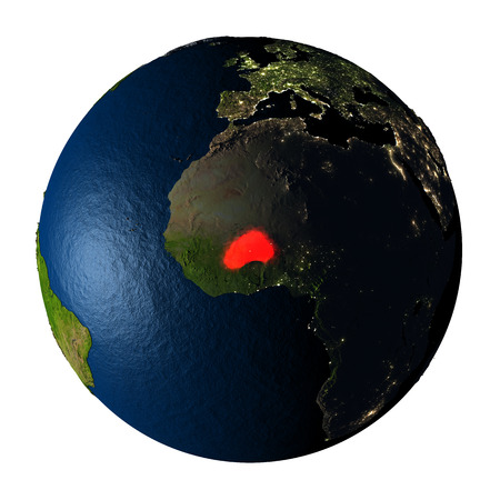 ranges: Burkina Faso highlighted red on highly detailed model of planet Earth with visible city lights, plastic oceans and mountain ranges. 3D illustration isolated on white background. Stock Photo