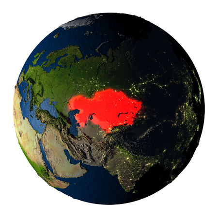 ranges: Kazakhstan highlighted red on highly detailed model of planet Earth with visible city lights, plastic oceans and mountain ranges. 3D illustration isolated on white background.