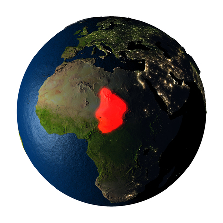 Chad highlighted red on highly detailed model of planet Earth with visible city lights, plastic oceans and mountain ranges. 3D illustration isolated on white background. Stock Photo