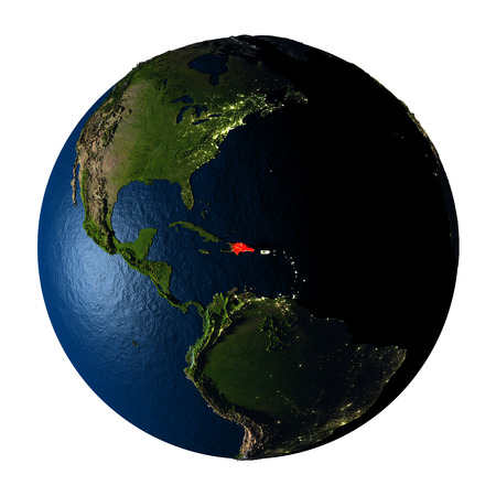 ranges: Dominican Republic highlighted red on highly detailed model of planet Earth with visible city lights, plastic oceans and mountain ranges. 3D illustration isolated on white background.