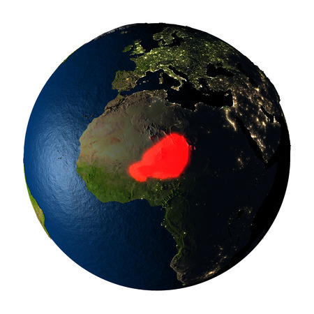 ranges: Niger highlighted red on highly detailed model of planet Earth with visible city lights, plastic oceans and mountain ranges. 3D illustration isolated on white background.