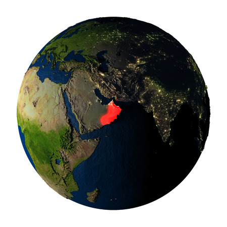 ranges: Oman highlighted red on highly detailed model of planet Earth with visible city lights, plastic oceans and mountain ranges. 3D illustration isolated on white background. Stock Photo