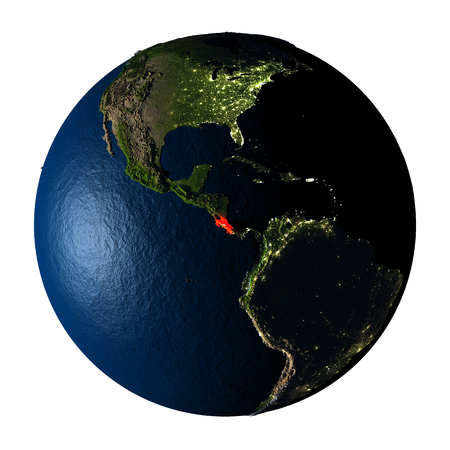 ranges: Costa Rica highlighted red on highly detailed model of planet Earth with visible city lights, plastic oceans and mountain ranges. 3D illustration isolated on white background.