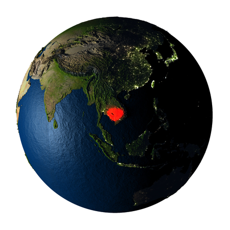 Cambodia highlighted red on highly detailed model of planet Earth with visible city lights, plastic oceans and mountain ranges. 3D illustration isolated on white background.