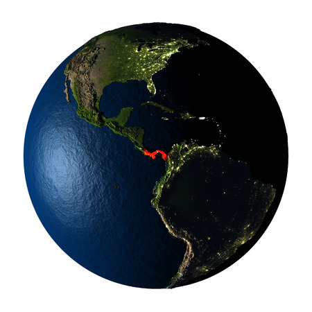 panamanian: Panama highlighted red on highly detailed model of planet Earth with visible city lights, plastic oceans and mountain ranges. 3D illustration isolated on white background.