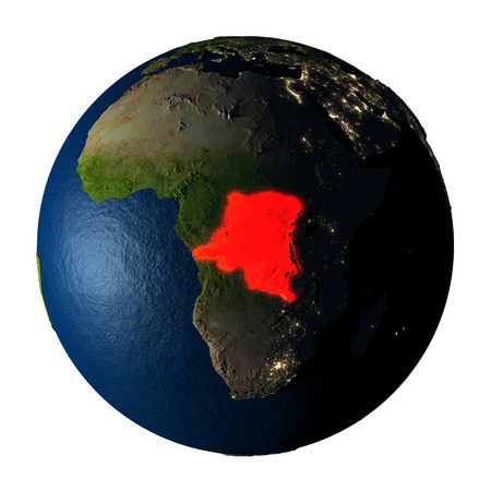 ranges: Democratic Republic of Congo highlighted red on highly detailed model of planet Earth with visible city lights, plastic oceans and mountain ranges. 3D illustration isolated on white background.