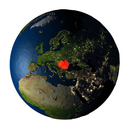 Romania highlighted red on highly detailed model of planet Earth with visible city lights, plastic oceans and mountain ranges. 3D illustration isolated on white background. Stock Photo