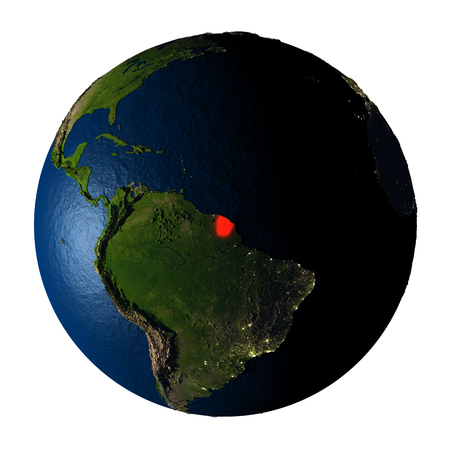 ranges: French Guiana highlighted red on highly detailed model of planet Earth with visible city lights, plastic oceans and mountain ranges. 3D illustration isolated on white background. Stock Photo