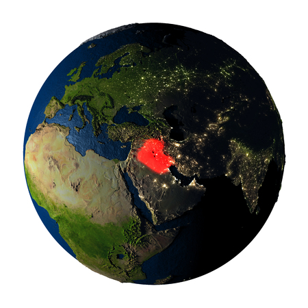 Iraq highlighted red on highly detailed model of planet Earth with visible city lights, plastic oceans and mountain ranges. 3D illustration isolated on white background.