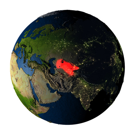 ranges: Uzbekistan highlighted red on highly detailed model of planet Earth with visible city lights, plastic oceans and mountain ranges. 3D illustration isolated on white background.