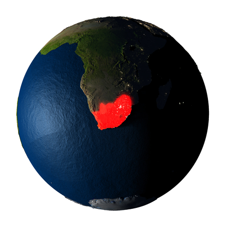 ranges: South Africa highlighted red on highly detailed model of planet Earth with visible city lights, plastic oceans and mountain ranges. 3D illustration isolated on white background.