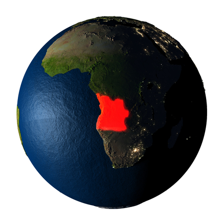 ranges: Angola highlighted red on highly detailed model of planet Earth with visible city lights, plastic oceans and mountain ranges. 3D illustration isolated on white background. Stock Photo