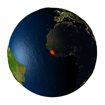 Sierra Leone highlighted red on highly detailed model of planet Earth with visible city lights, plastic oceans and mountain ranges. 3D illustration isolated on white background.