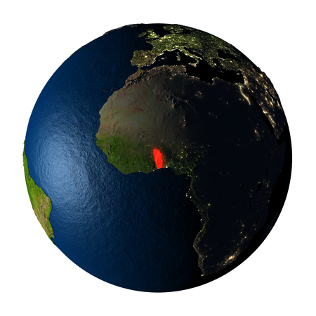 ranges: Togo highlighted red on highly detailed model of planet Earth with visible city lights, plastic oceans and mountain ranges. 3D illustration isolated on white background.