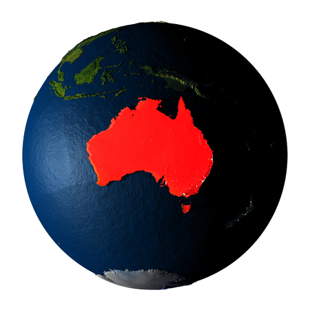 ranges: Australia highlighted red on highly detailed model of planet Earth with visible city lights, plastic oceans and mountain ranges. 3D illustration isolated on white background.
