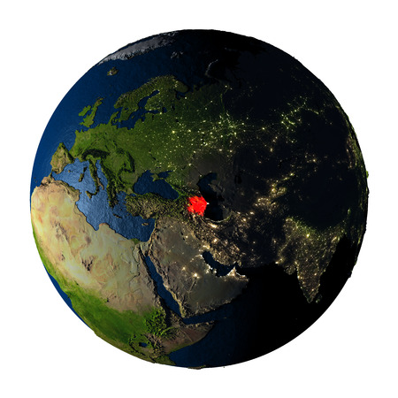 ranges: Azerbaijan highlighted red on highly detailed model of planet Earth with visible city lights, plastic oceans and mountain ranges. 3D illustration isolated on white background.