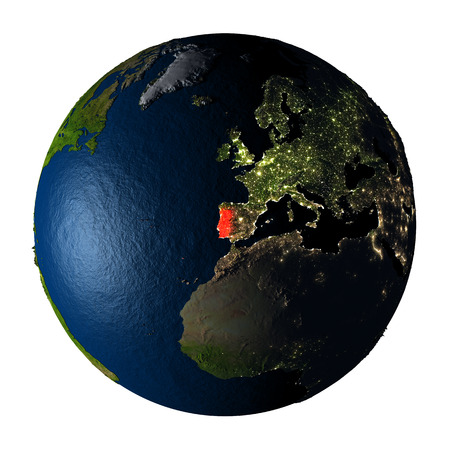 ranges: Portugal highlighted red on highly detailed model of planet Earth with visible city lights, plastic oceans and mountain ranges. 3D illustration isolated on white background.